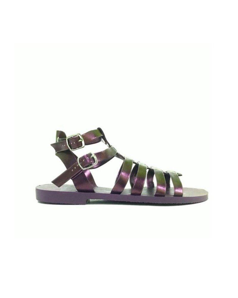 Ingrid Metallic Purple Flat Sandal