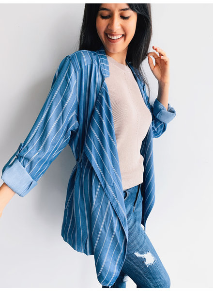 Pin Stripe Tencel Jacket/ Cascade Collar