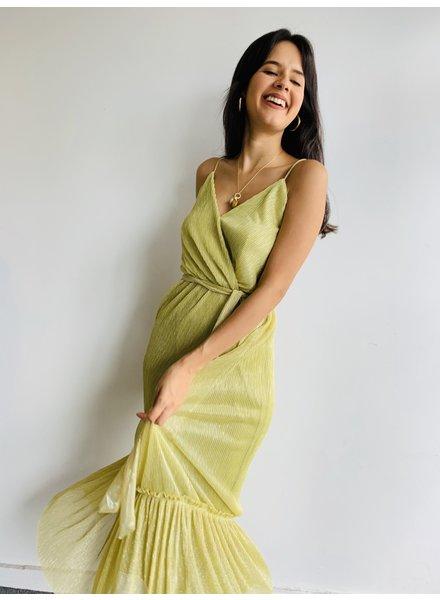 Metallic Plisse Tiered Maxi Dress