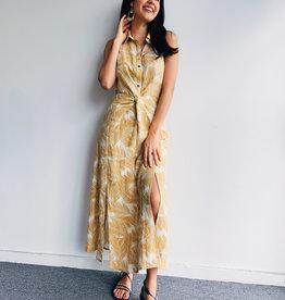 Palm Tree Print Sleeveless Long Dress