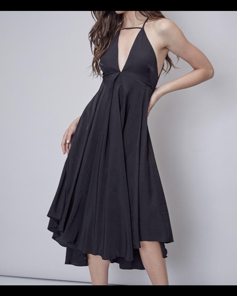 V Neck Open Back Maxi Dress