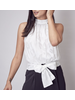 Embroidered Mock Neck Tie Back Top
