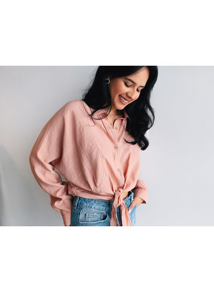 Tie Front Cropped Shirt Long Sleeves
