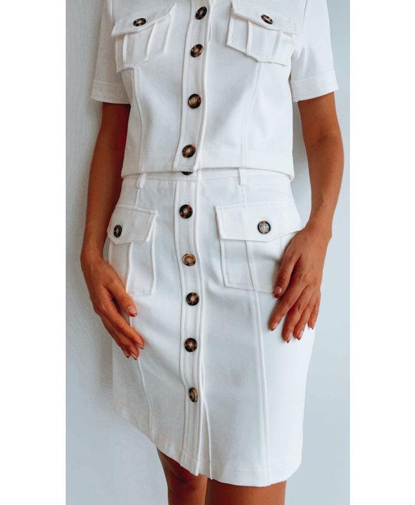 Pat Button Skirt
