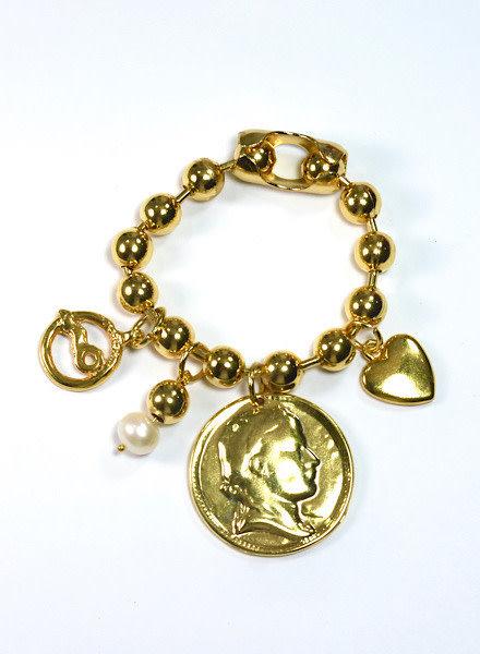 Pulsera Copito Nieve Oro Moneda