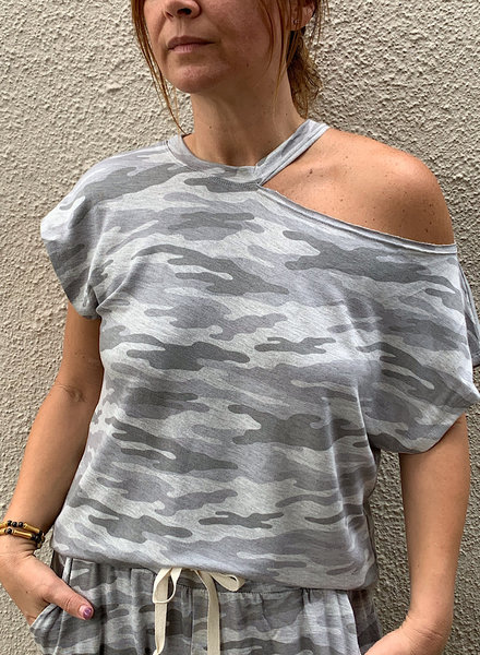 Crop Sleeve 1 Off Shoulder Top