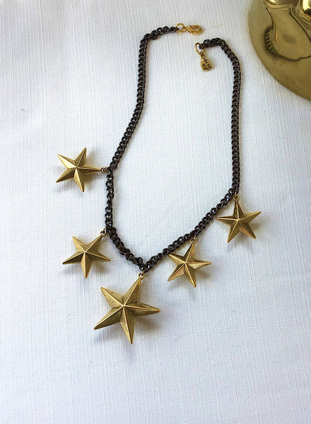 Black Cuban Chain / Gold Stars