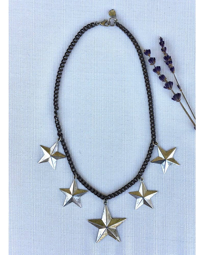 Black Cuban Chain /Silver Stars
