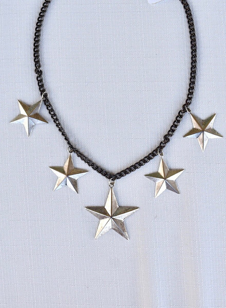 Black Cuban Chain /Silver Stars