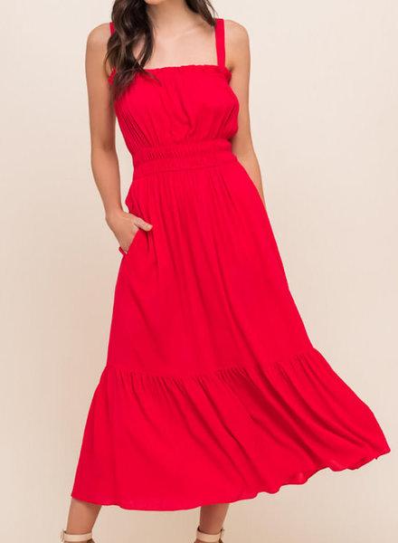 Square Neck Shirred Maxi Dress