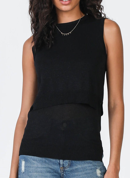 Round Neck Sleeveless Double Layered Sweater