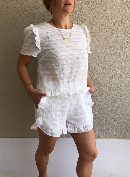 White Trim Matching Top with Shorts
