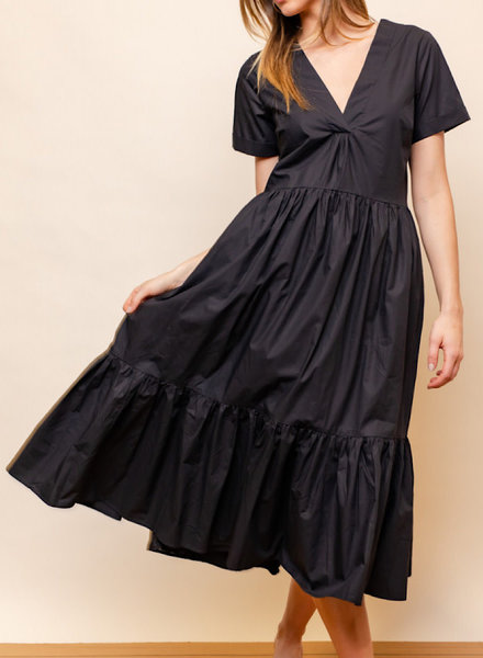 Poplin Ruffled V-Neck Midi Dress