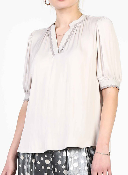 V-Neck Woven Top with Rib on Neck