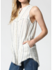 Sleeveless Linen Striped Shirt w Pockets