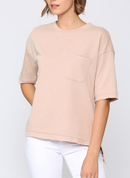Washed Short Sleeve French Terry Top w Pocket