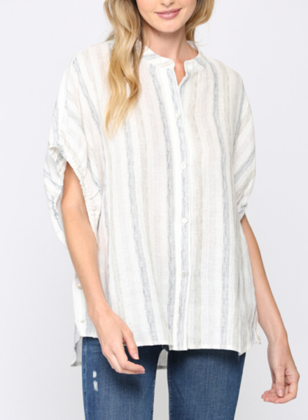 Striped Linen Blend Sleeve Tie Shirt