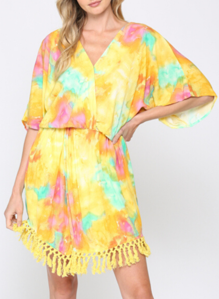 Tie Dye Print Front Twisted Dress w Tassel Trim Hem