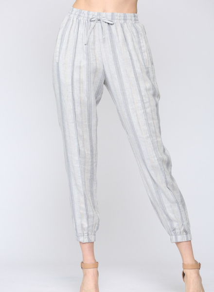 Multi Color Striped Linen Jogger Pants