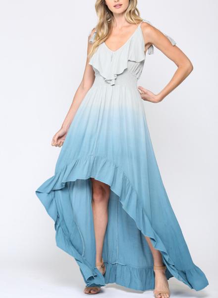 Dip Dye Hi/Lo Ruffle Maxi Dress w Tassel Tie