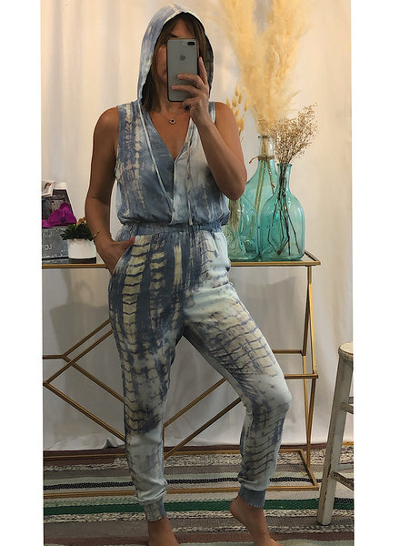 Tie Dye Print Hooded Jumpsuit