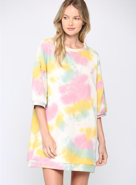 Oversize Tie Dye Wide Sleeve  Dress