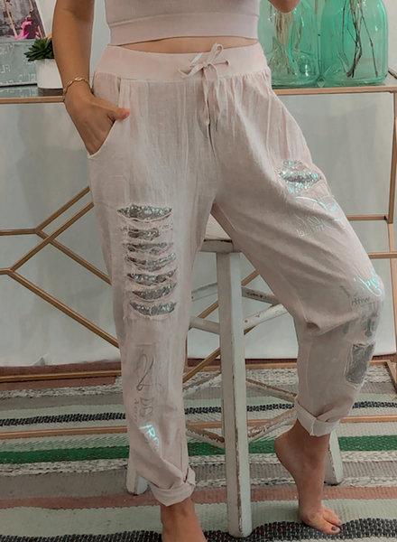 Linen Pants w/ Sequin Details