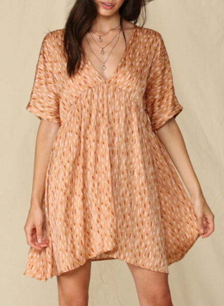 V Neck Babydoll Tunic Dress