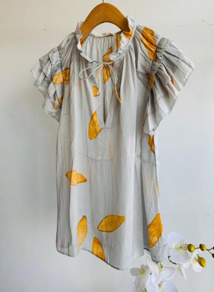 Petal Print Ruffle Sleeve Blouse
