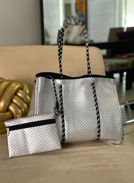Silver Neoprene Tote Bag