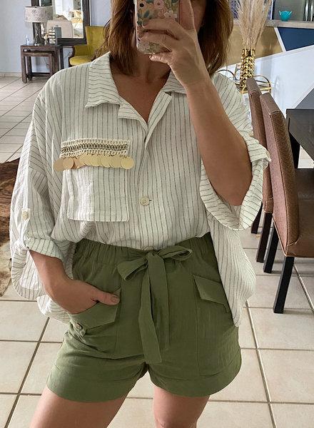 One Size Stripe Top w Crochet detail on Pocket