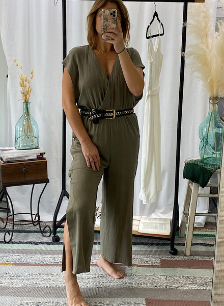 Short Sleeve Waist Cinched Jumpsuit