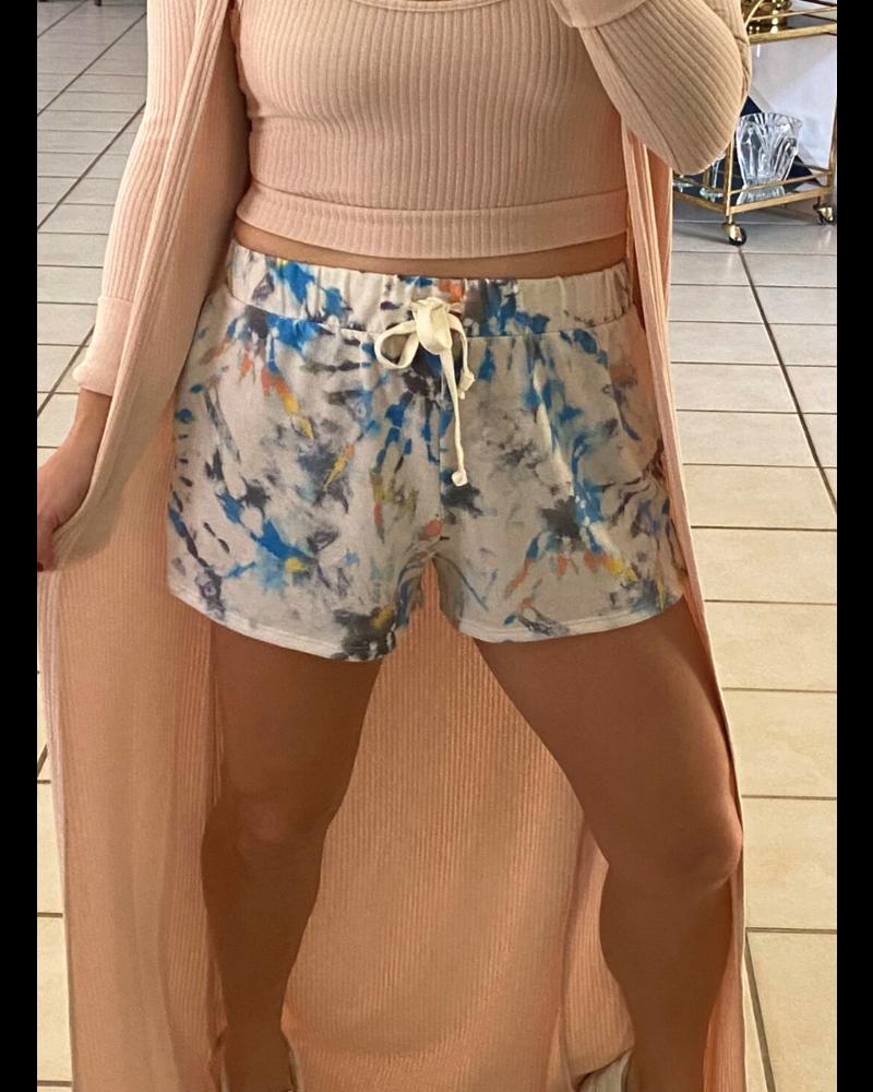 Tie Dye Drawstring Shorts w Pockets