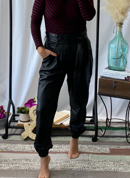 Black Leather Pant w/ Belt