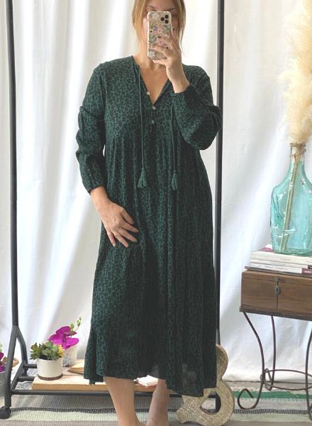 Animal Print Long Sleeve Maxi  Dress