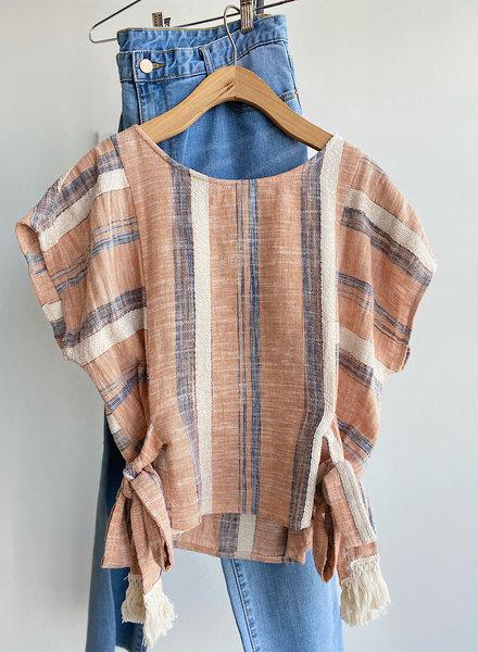 Stripe Linen Blend Top / Side Tie