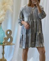 3/4 Sleeve Dye Mini Dress
