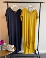 Long Basics V Neck Dress