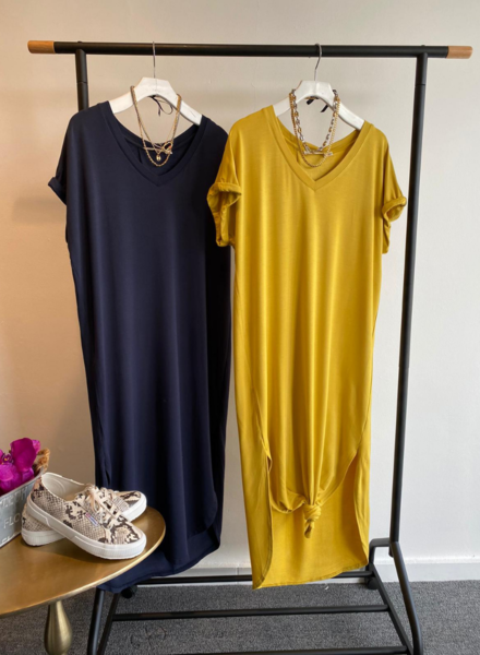 Long Basics V Neck Dress