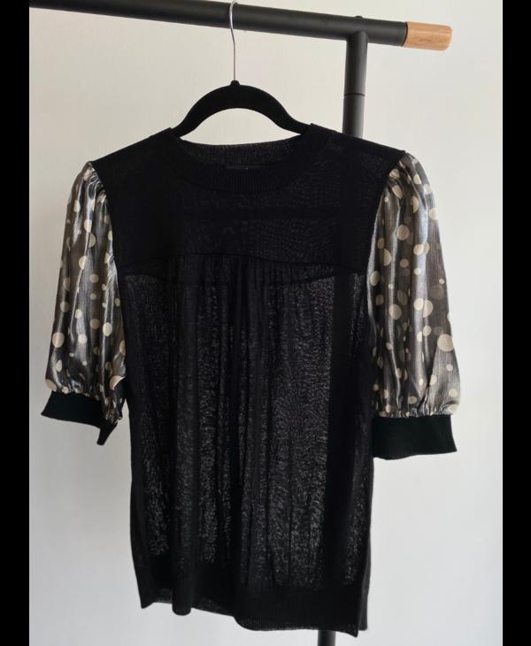 Metallic Polka Sleeve Sweater Top