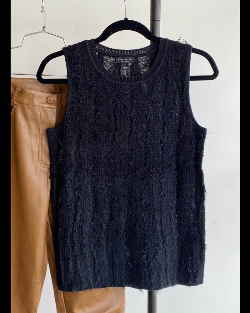 Frayed Fringe Sleeveless Sweater Top