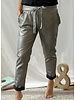 Pewter Faux Leather Jogger Pants w Ruffle Pocket  Detail