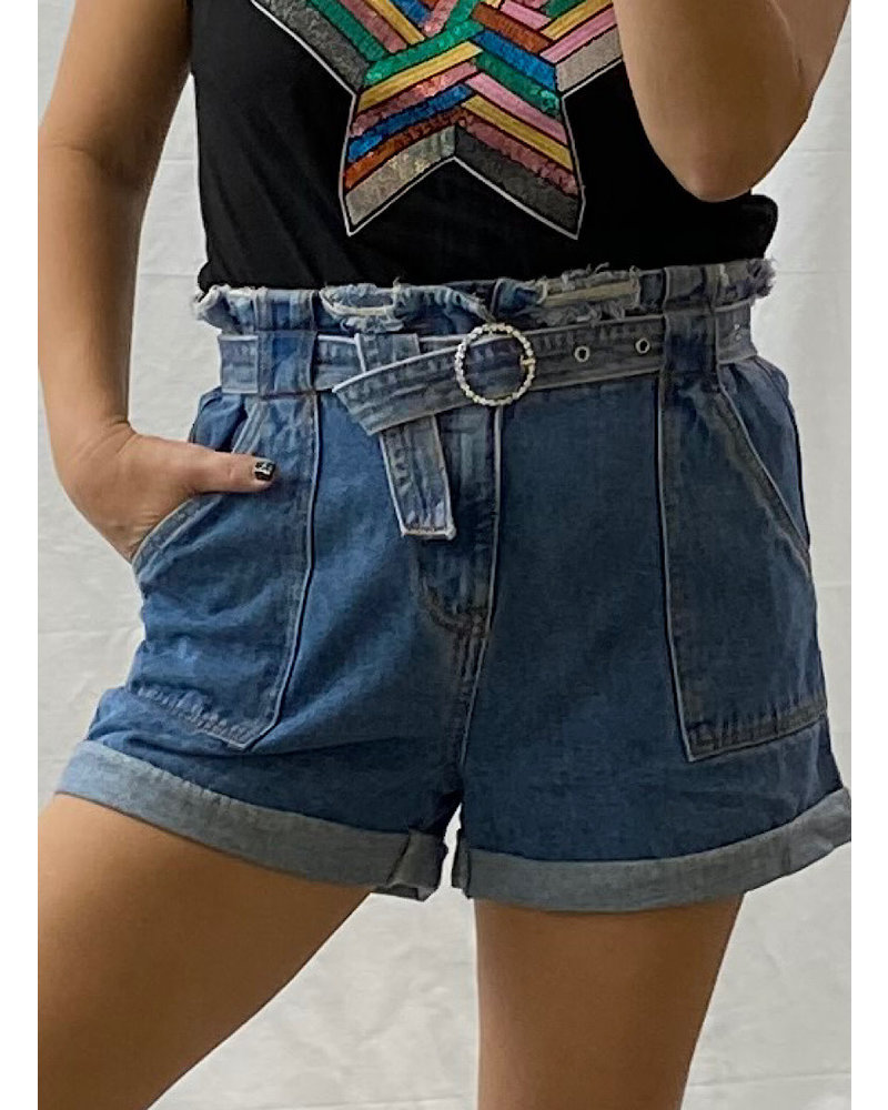 Belted High Waisted Short