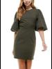 Olive Puff Sleeve Short Dress