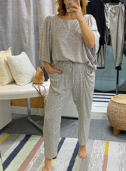 Wide Sleeve Watercolor Spot Top & Pant Set