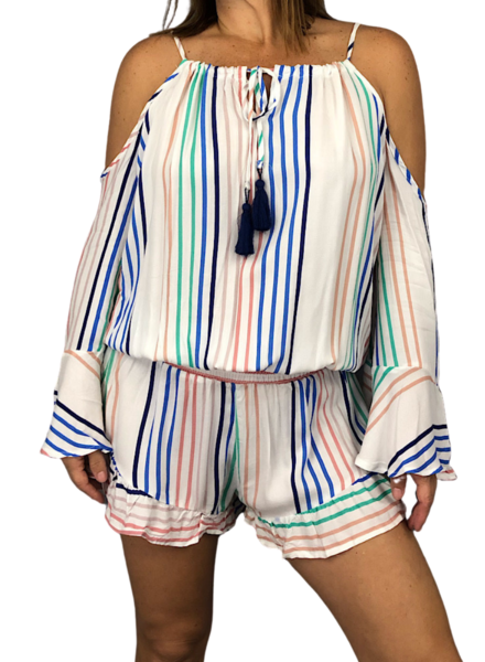 Candy Stripe Shoulder Romper