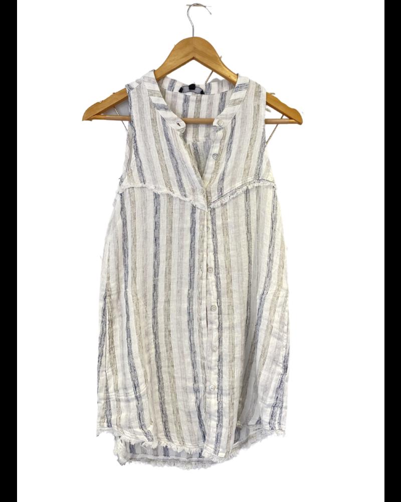Sleeveless Linen Striped Shirt w Pockets