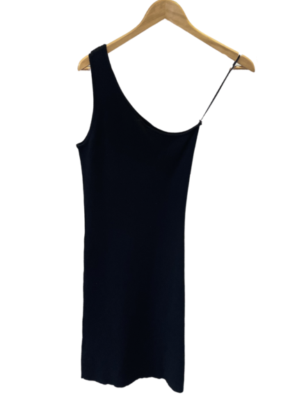 One Shoulder Sweater Rib Mini Dress