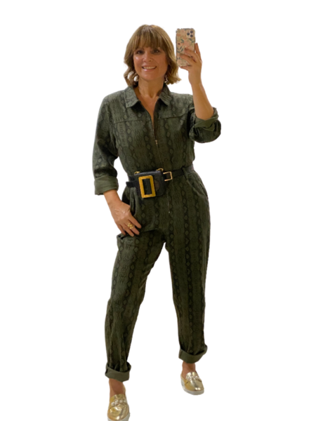 Long Sleeve Animal Print Jumpsuit