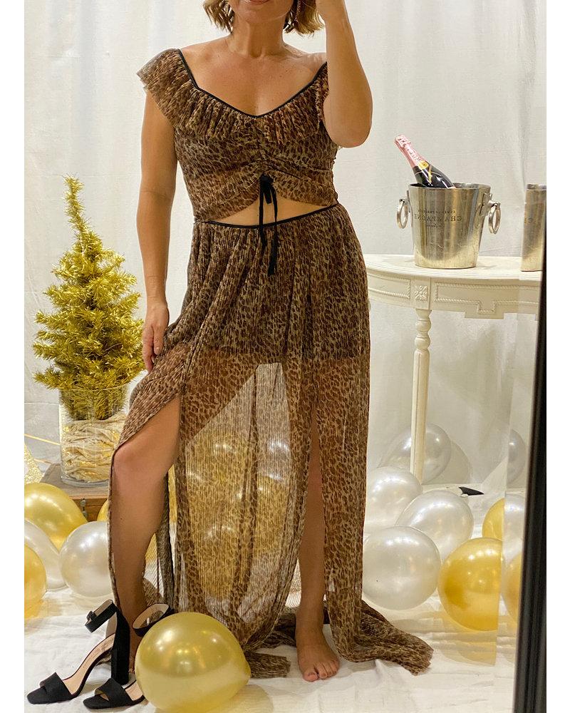 Leopard Pleated Ruffle Top / Skirt Set